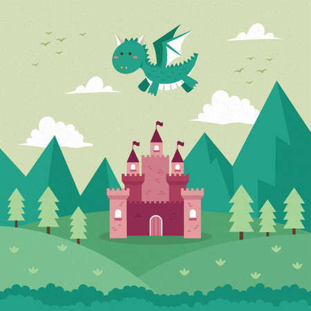 dragon flying over a castle