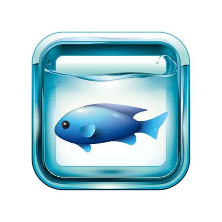 A blue damselfish in an aquarium illustration.