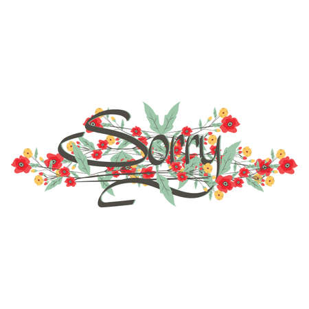word sorry with floral design