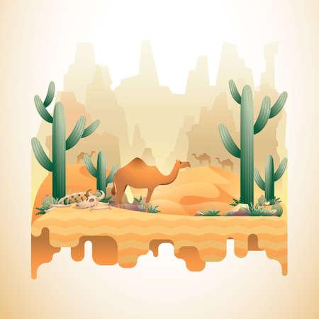 砂漠の風景をぶら下げ  イラスト・ベクター素材
