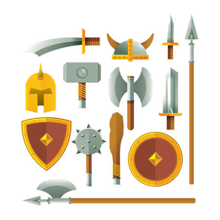 set of swords and shields icons
