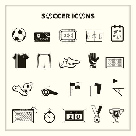 collection of soccer icons Çizim
