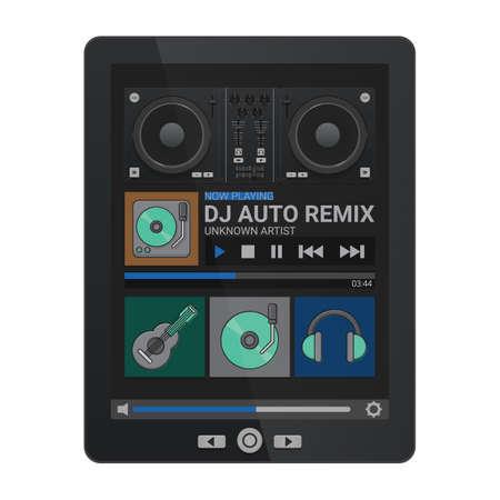 DJ application on a tablet 向量圖像