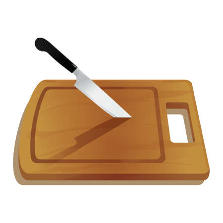 knife on cutting board Illustration