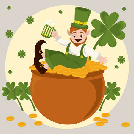 leprechaun with beer mug and pot of gold