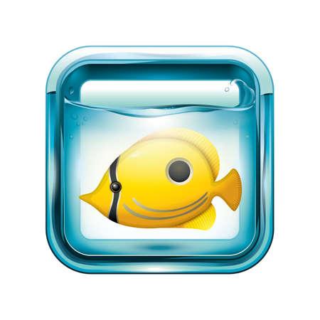 A yellow tang fish in an aquarium.
