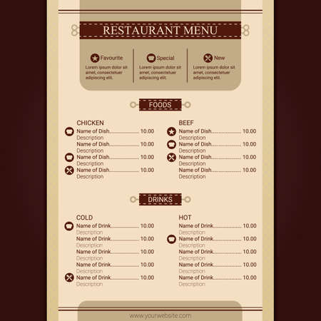 restaurant menu Stock Illustratie