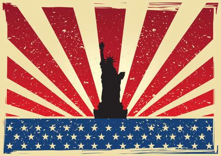 Bandera de Estados Unidos con la estatua de la libertad poster Foto de archivo - 81418925