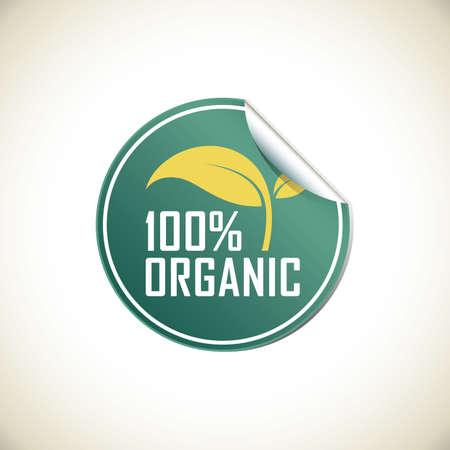 hundred percent organic label Reklamní fotografie - 106670608