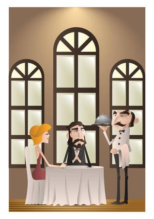 부부의 식당에서 일러스트