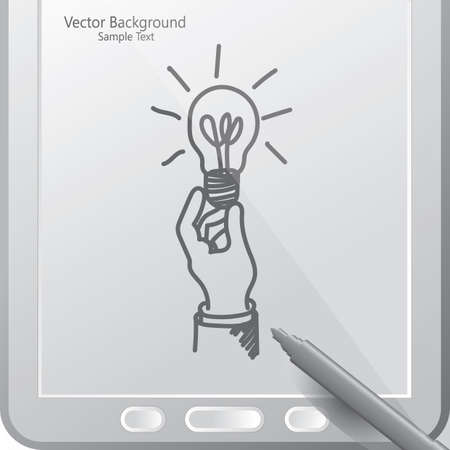 hand holding a bulb in a tablet with stylus