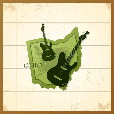 map of ohio state  イラスト・ベクター素材