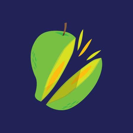sliced mango 向量圖像