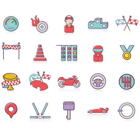 A set of racing themed icons illustration.