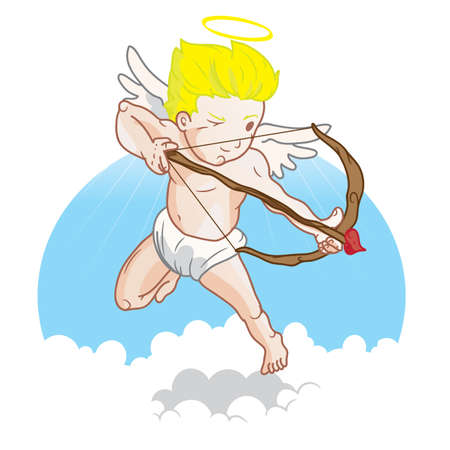 cupid with bow and arrow Ilustrace