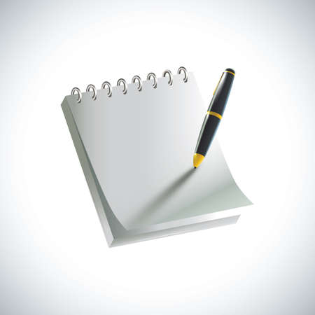 펜으로 메모장 일러스트