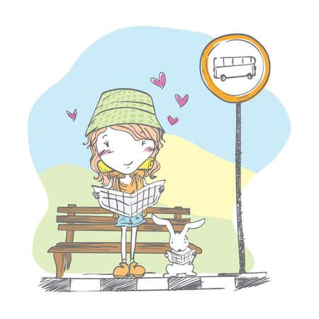 女の子とウサギのバス停で新聞を読む