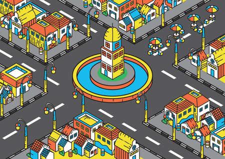 町の建物の等尺性