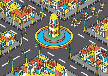 Isometric of buildings in a town Illustration
