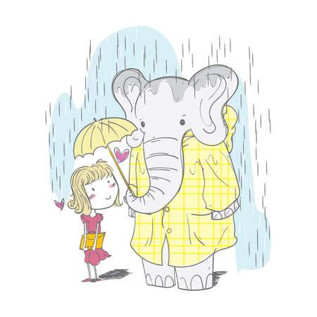 소녀와 우산을 공유하는 코끼리