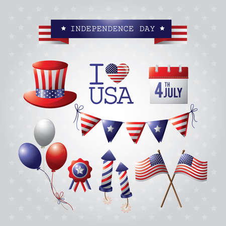 american independence day icons