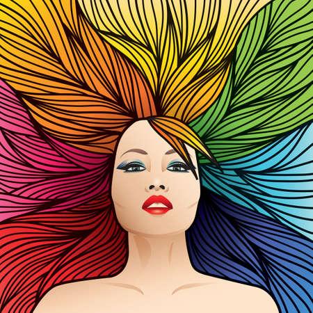 regenboog gekleurde kapsel