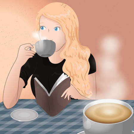 woman drinking coffee and reading book Ilustração