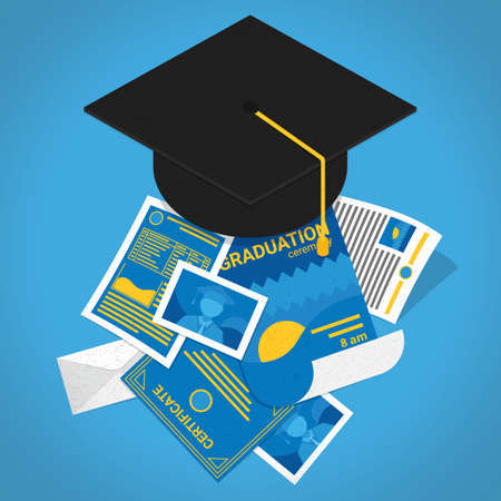 mortar board with certificates Illustration