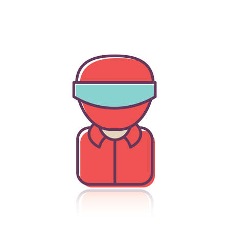 A racer with helmet illustration.