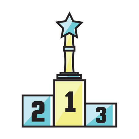 Star trophy on winner podium Illustration