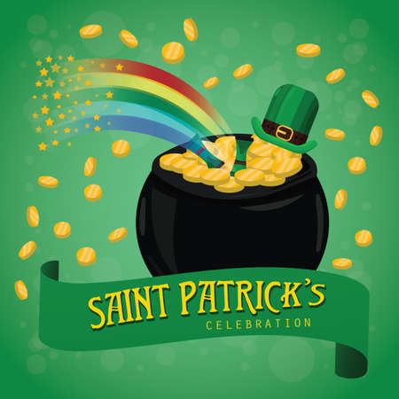 st patricks day poster with pot of gold coins