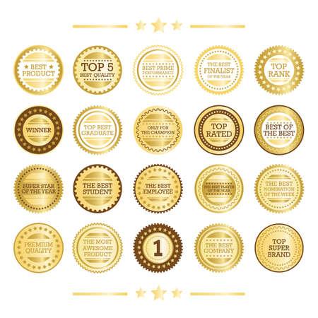 Set of gold seals Illustration