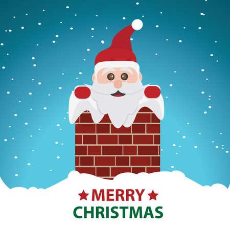 산타는 굴뚝에 일러스트
