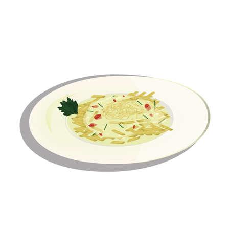 접시에 카르 보 나라 스파게티