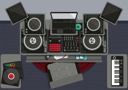 Verzameling van dj-muzikale apparatuur