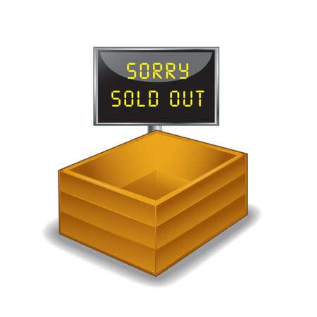 pakket met sorry uitverkocht bord Stock Illustratie