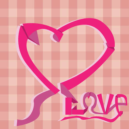 ribbon forming heart shape and love text 向量圖像