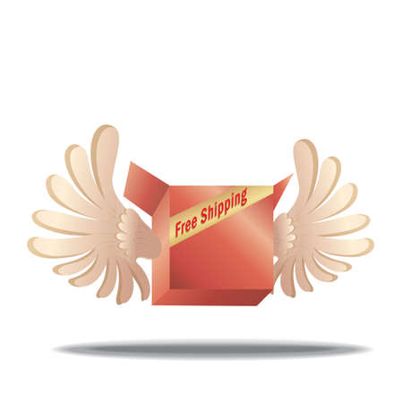 parcel with wings and free shipping label