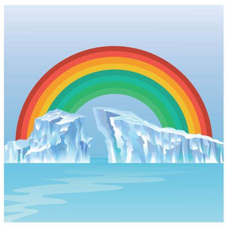 虹と氷河  イラスト・ベクター素材