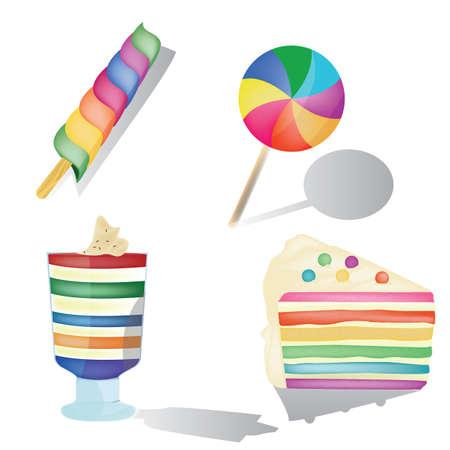 set of colorful desserts Ilustração