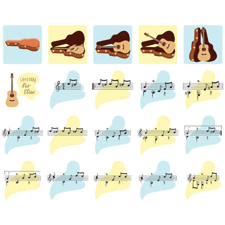 set of guitar and musical notes