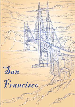 san francisco drawing Иллюстрация