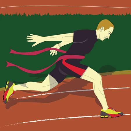 De man won de race Stock Illustratie