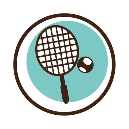 A tennis racket with ball illustration. Illustration