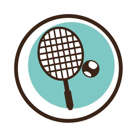 Une raquette de tennis avec illustration de balle. Banque d'images - 81470560