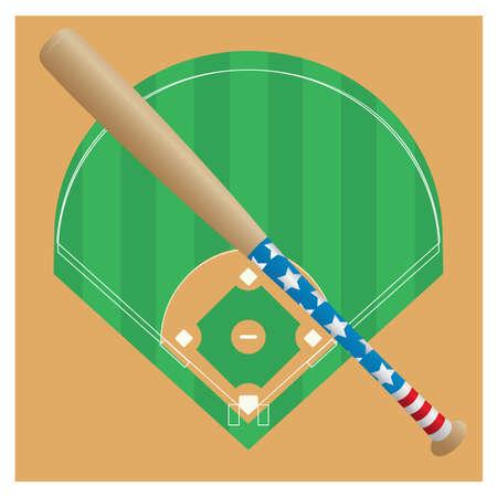 baseball bat against the baseball field