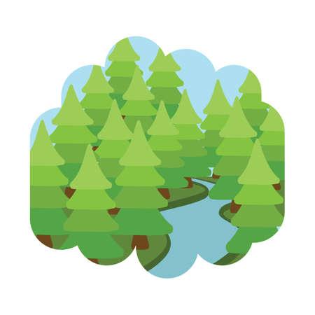 Bäume und Fluss Standard-Bild - 81470266