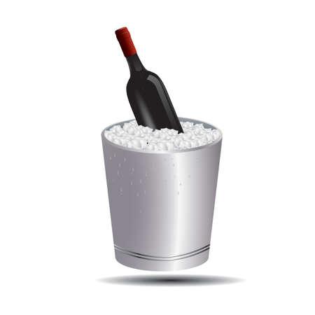 wine bottle in ice bucket 向量圖像