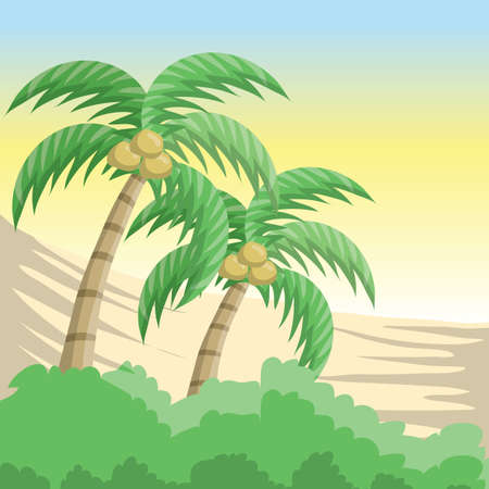 coconut trees background Illustration