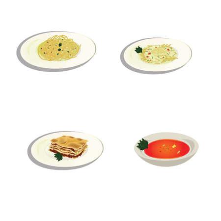 Conjunto de comida italiana Foto de archivo - 81486561